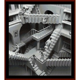 escher stairs - fractal cross stitch pattern by cross stitch collectibles