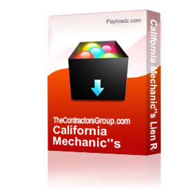 California Mechanic's Lien Release Form (win-doc) | Other Files | Documents and Forms