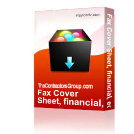 fax cover sheet, financial, editable