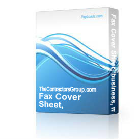 fax cover sheet, business, memo, editable