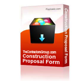 construction proposal form - bid form - estimate form