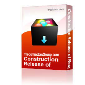 Construction Release of Responsibility form | Other Files | Documents and Forms