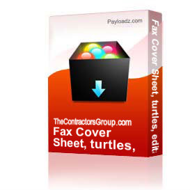 fax cover sheet, turtles, editable