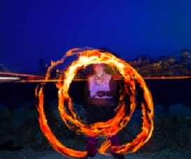 poi fire dancing lesson: crosser, crosser/hug turns