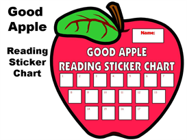 good apple reading sticker chart set