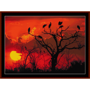 botswana sunset, africa - nature cross stitch pattern by cross stitch collectibles