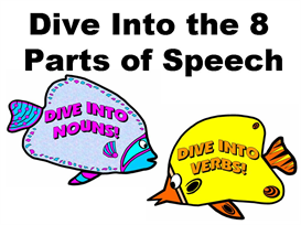 dive into the 8 parts of speech bulletin board display