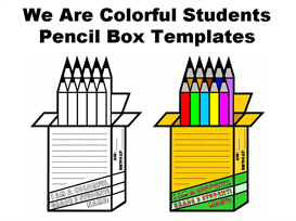 pencil box templates: we are colorful students
