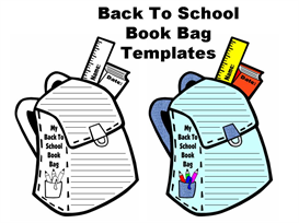 book bag shaped writing templates