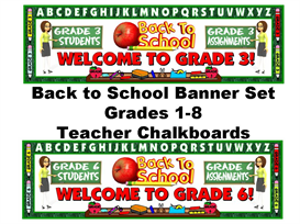 Back to School Banner Grades 1-8 Set (Teacher Chalkboards) | Other Files | Documents and Forms
