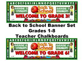 back to school banner grades 1-8 set (teacher chalkboards)