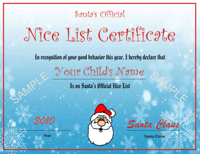 Santas Nice List Certificate Blue Snowflake Design Other Files