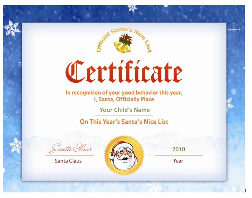 Santas Nice List Certificate Santa Seal Other Files Patterns
