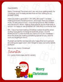 santa letter - claus and reindeer