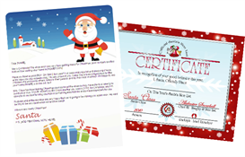 santa letter combo - santa gifts design with red nice list certificate