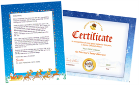 santa letter combo - sleigh design with santa seal nice  list certificate