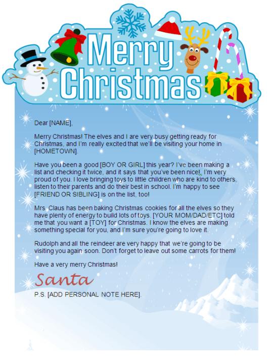 Merry Christmas Letter Banner Printable.Santa Letter With Merry Christmas Banner