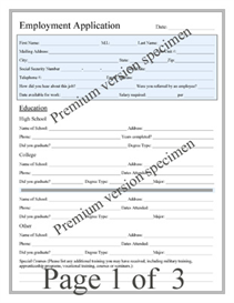 premium job application form