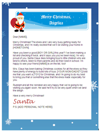 santa letter - personalized header
