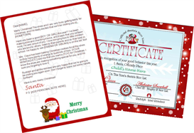 santa letter combo - claus and reindeer with red certificate