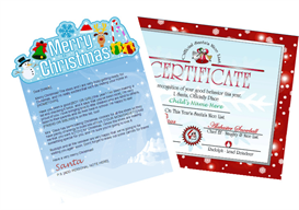 santa letter combo - merry christmas banner with red nice list