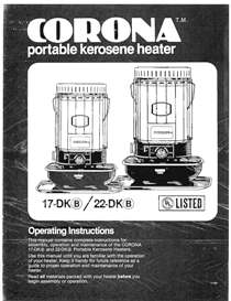 corona 17-dk 22-dk kerosene heater operating manual