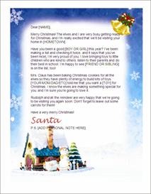 santa letter stationary - santa village