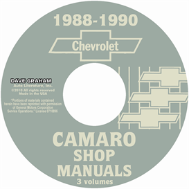 1988-1990 chevrolet camaro shop manuals