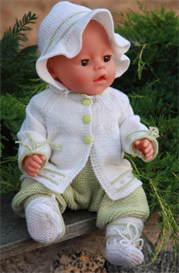 dollknittingpattern - 0047d renate - cardigan, bonnet, baby suit and socks