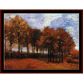 lane with poplars - van gogh cross stitch pattern by cross stitch collectibles