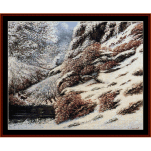 deer in snowy landscape - courbet cross stitch pattern by cross stitch collectibles