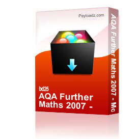 aqa further maths 2007 - model answers