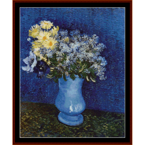 lilacs-marguerites-anemones - van gogh cross stitch pattern by cross stitch collectibles