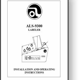 astro als-9300 labeler operator's & installation manual