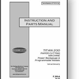 challenge titan 200 paper cutter operator's manual