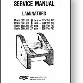 GBC 522/523/568/569 Laminators Parts & Service Manual | Other Files | Documents and Forms
