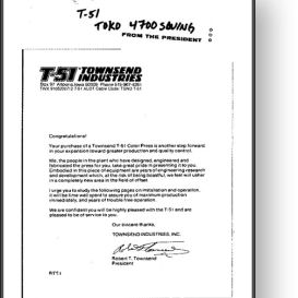 townsend industries t-51 t-head for toko 4700 - manual