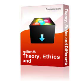 Theory, Ethics and Differentiation of Self | Other Files | Documents and Forms