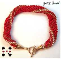red coral fantasy twist bracelet