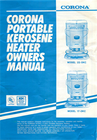 corona 17-dkc 22-dkc kerosene heater operating manual