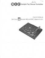bic 980 & 960 turntables operations manual