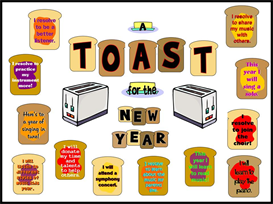 toast for the new year bulletin board kit