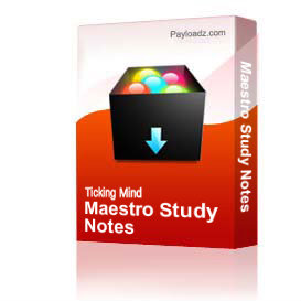 Maestro Study Notes | Other Files | Documents and Forms