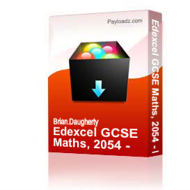 edexcel gcse maths, 2054 - higher 2008