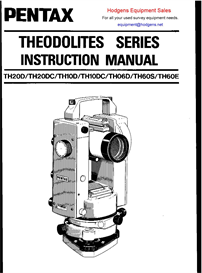pentax theodolite series instruction manual
