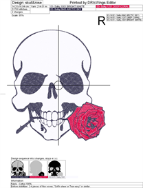 skull and rose machine embroidery file