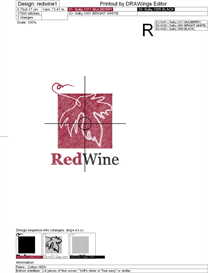 red wine 1 machine embroidery and cutting machine  file
