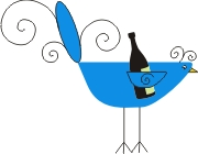 party foul bird with wine
