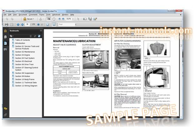 bombardier 2004 atv ds650 service repair manual