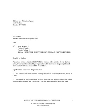 Dispute Letter To Traffic Ticket Collection Agency Other Files - Debt dispute letter template